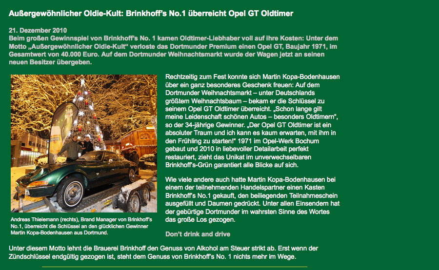 Brinkhoff´s No.1 - Suselbeek Opel GT Parts Shop